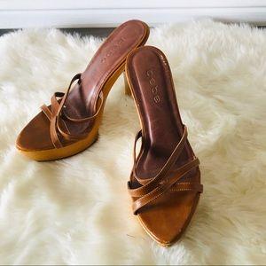 Bebe wooden platform heels with brown straps GUC